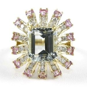Aquamarine Ring w/Diamond & Sapp. 14k YG 6.48Ct